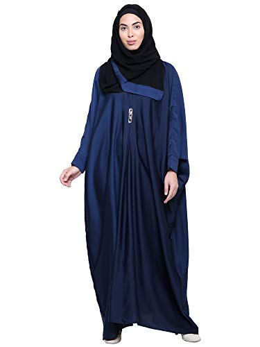 ZUZUU Women's Butterfly Balloon Style Imported Soft Nida Dubai Girls Kaftan Abaya Burqa with Hijab (Dupatta) and Mouthpiece(Dark Blue_Free Size_Abaya For Woman)