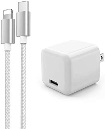 FEGO Designed for iPhone Fast Charger, 20W PD Mini USB C Wall Charger w/ 6FT Nylon Braided Designed for iPhone Cable, 20w USB-C Power Adapter for iPhone 12 Mini/12/12 Pro Max/iPad Pro/Airpods Pro and so forth