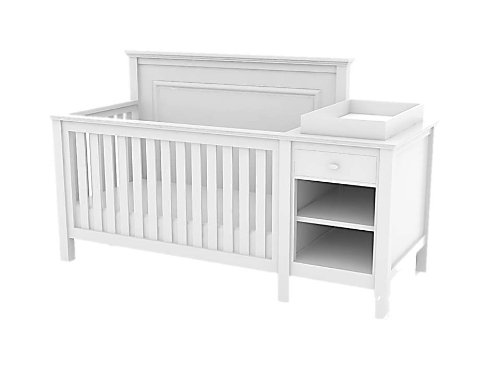 Lolly & Me Cogan 4 in 1 Convertible Crib and Change Table Combo, White