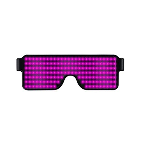 LED Glasses Light Up Glow Flashing Rechargeable Toy Sunglasses Eyewear Nightclub Party 4 Function for Halloween Christmas Parties (Pink) -