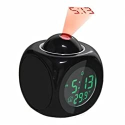 Waid-LCD Talking Projection Alarm Clock Time & Temp Display(black)