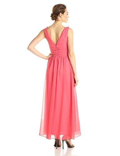 Maxi Dress V Aurora Women's Long Elegant Coral Neck Evening Chiffon Bridal z11Bwx0q
