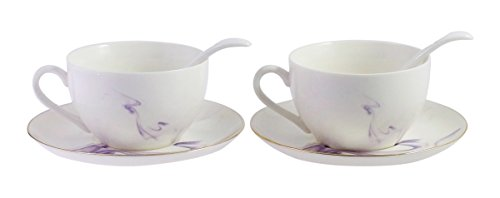 JustNile Tea for Two Porcelain Tea Coffee Cups Saucer Set with Spoon Purple Swirls Gold Trim - Set of 2, Purple Swirls Gold Trim