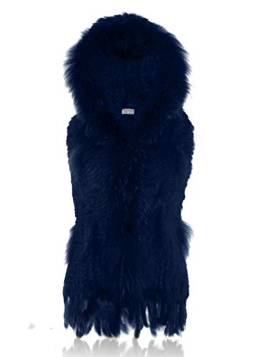 HEIZZI Hooded Knitted Rabbit Fur Vest Thick Warm Soft Sapphire