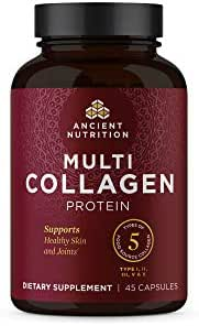 Multi Collagen Protein Pills, Supplement Supports Skin, Nail and Gut Health, 5 Types of Food Sourced Collagen, 45 Count - 15 Servings