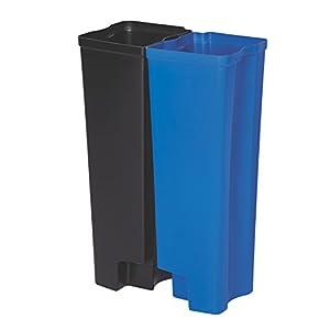 Rubbermaid Commercial Slim Jim Front Step-On Trash Dual Rigid Liner Set, Plastic, 24 Gallon, Black/Blue