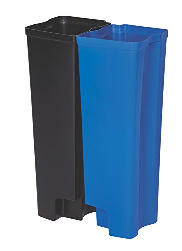 Rubbermaid Commercial Slim Jim Front Step-On Trash Dual Rigid Liner Set, Plastic, 24 Gallon, Black/Blue