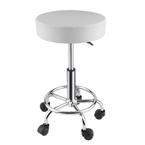 Belovedkai Rolling Swivel Stool, Beauty Salon Massage Spa Tattoo Adjustable Stool with Wheels (white)