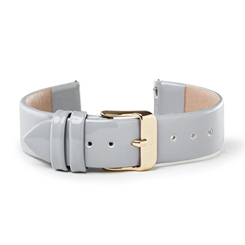 WRISTOLOGY Gold 18mm Womens Easy Interchangeable Watch Band (Grey Patent)