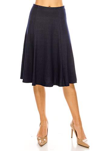 MoDDeals Women's A-line Flared Knee Length Paneled Casual Midi Skirt (Medium, Blue Denim)