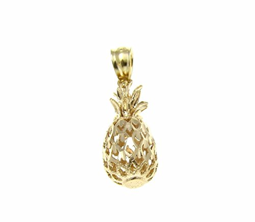 14K Solid yellow gold Hawaiian diamond cut pineapple charm pendant 7.5mm