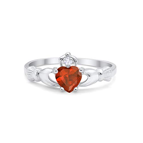 Blue Apple Co. Irish Claddagh Heart Promise Ring Simulated Red Garnet Round CZ 925 Sterling Silver, - Ring Asscher Garnet