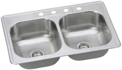 PROFLO PFSR332264 PROFLO PFSR332264 33 Double Basin Drop In Stainless Steel Kitchen Sink with 4 F