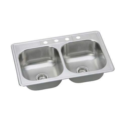 PROFLO PFSR332264 33'' Double Basin Drop In Stainless Steel Kitchen Sink with 4 Faucet Holes