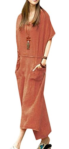 Crew Size Neck Plus Color Long Pure Dress Orange Cromoncent Loose Pocket Linen Womens WnSYwqcB0
