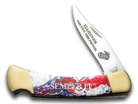 Buck 110 Custom Star Spangled Corelon US Marines Folding Hunter Pocket Knives ()
