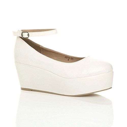 Damen Mittel Hoher Keilabsatz Plateau Flachform Knöchelriemen Schuhe Pumps Größe Weiß Matt