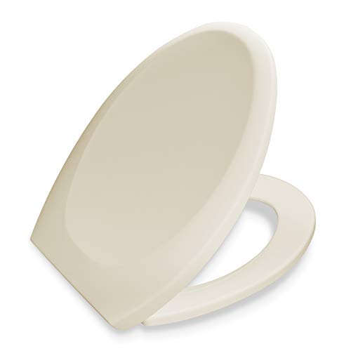Bath Royale BR606-02 Premium Elongated Toilet Seat with Cover, Almond-Bone, Slow-Close, Quick-Release for Easy Cleaning. Fits All Elongated (Oval) Toilets