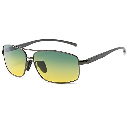 SUNGAIT Anti Glare Day and Night Vision Sunglasses for Driving Reduce Eye Strain (Gunmetal Frame/Day&Night)2458QKRY