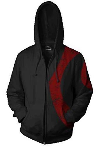Greed Land Wars God Sparta 3D Print Zipper Hoodies Cosplay Jacket for Men ()