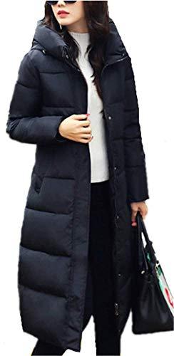 YOGLY Manteau Long Femme Elgante Chaud Doudoune Lgre pais Blouson  Capuche Veste Casual Outwear pour Hiver Noir