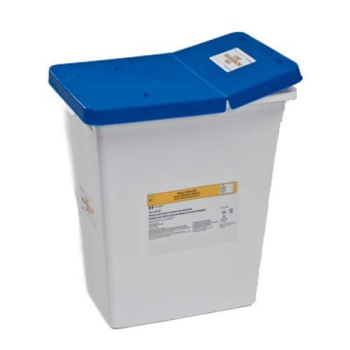 Covidien 8850 SharpSafety Pharmaceutical Waste Container, Gasketed Hinged Lid, 8 gal Capacity (Pack of 10)