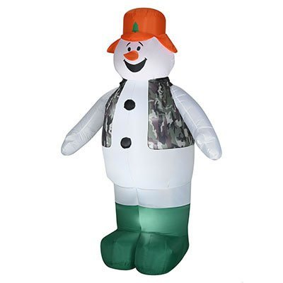Gemmy Airblown Inflatable Hunting Snowman Wearing an Orange Hat and Camo Vest - Indoor Outdoor Holiday Decoration, 7-foot Tall by Gemmy