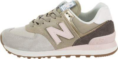 New Balance Women's 574v2 Sneaker, Light Cliff Grey/Light Gold, 10 B US