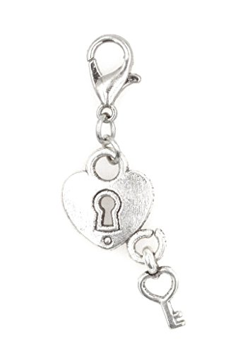 Filigree Heart Key (Heart & Key Clip On Charm Key to My Heart Perfect for Necklaces and Bracelets (ZC 98R))
