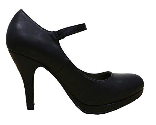 Cambridge Select Womens Mary Jane Buckle Strap Dress Cushioned High Heel Pump Black Wenen Pu