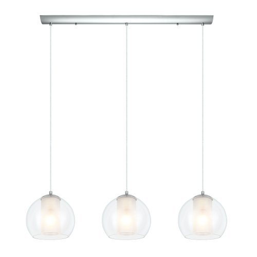 Eglo 200418A Multi Light Pendant with Clear & White Glass, Chrome Finish