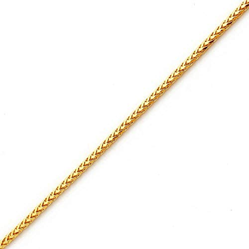 LoveBling 10K Yellow Gold Wheat, Palm Chain Bracelet with Lobster Lock (2.5mm, 8