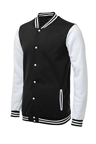TRIFUNESS Varsity Jacket Letterman Jacket Baseball Jacket with Long Sleeve Banded Collar Black -
