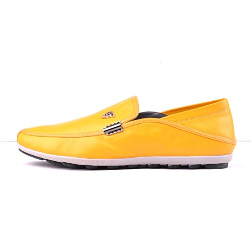 Details Moccasins on Men's Santimon Leather Metal Yellow Shoes Genuine Loafters Slip Soft BgwzX
