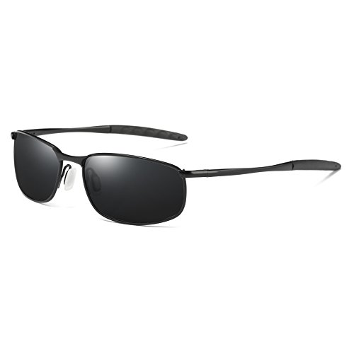 COASION Polarized Sunglasses for Men Lightweight Frame100% UV Protection (Black Frame/Black Lens, 57)