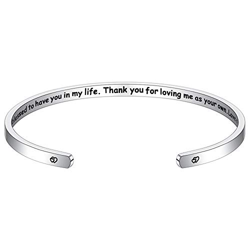 M MOOHAM Inspirational Bracelet for Mom Gifts - Everything I Am,You Helped me to Be Engraved Mantra Quote Cuff Bracelet Personalized Jewelry MOM Gifts for Mother's Day Birthday Thanksgiving Day