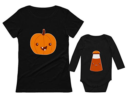 Mom & Baby Pumpkin Spice Matching Halloween Set Easy Costume Shirt & Bodysuit Pumpkin Mom Black Large/Spice Baby Black 6M (3-6M) ()