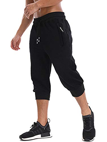 MAGNIVIT Men's 3/4 Jogger Capri Pants Workout Gym Below Knee Shorts Zipper Pockets