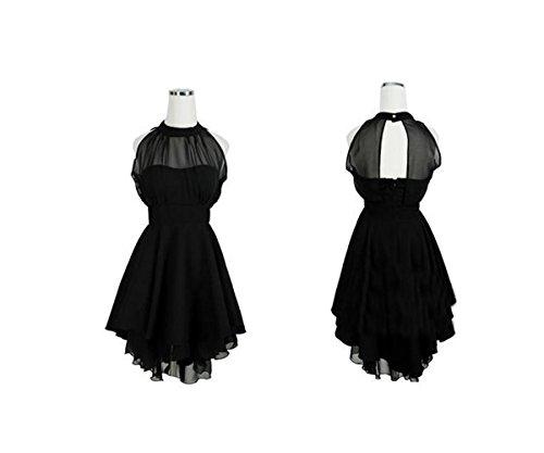 Slim en Soie de Backless Femmes sans Weekendy Robes pour Mode Sexy Robe Irrgulire Manches Les Black Perspective Jupe Mousseline Ovqp4v07