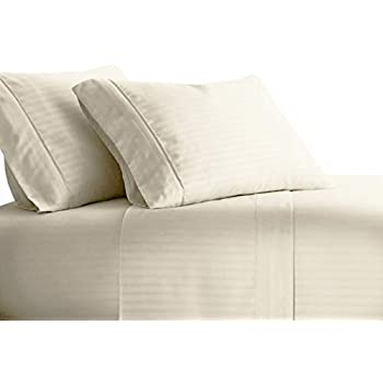 99246519f2f4 sheetsnthings Damask Stripe 1000 Thread Count, Pure Cotton King Size Bed  Sheets (Ivory) Soft, Deep Pocket, 4PC Sheet Set