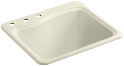 Kohler K-6657-3-FD River Falls Self-Rimming Sink with Three-Hole Faucet Drilling, Cane Sugar