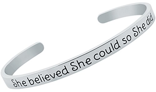 Encouragement Gifts, Graduation Gifts for Her, Inspirational Jewelry Bracelet for Women & Teen Girls ''She Believed She Could So She Did'' Mantra Quote Sayings Cuff Band Bangle Bracelet (Silver) (She Believed She Could So She Did Meaning)