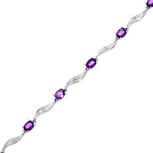 Revoni Bague en or blanc 9carats-Bracelet Femme-Améthyste et Diamant Wave