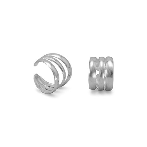 925 Sterling Silver 3 Row Polished Ear Cuffs