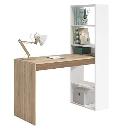 Habitdesign Mesa de Ordenador PC o Escritorio con Estanteria Reversible, Blanco Artik y Roble Canadian, Modelo Duplo, Medidas: 120 cm (Ancho) x 53 cm (Fondo) x 144 cm (Alto) a buen precio
