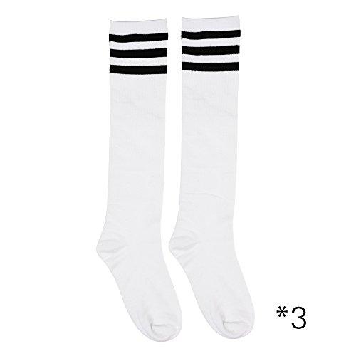 Kloud City 3 Pack Women's Triple Stripe Knee High Socks Football Sports Tube Uniform Socks US Size 9-11 (Sport Uniform For Woman)