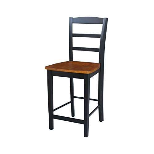 International Concepts S57-402 Madrid Counterheight Stool, 24-Inch SH, Black/Cherry