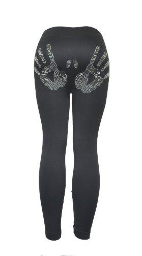 Leggings Rhinestone Black (Hands Rhinestones Womens Black Legging)