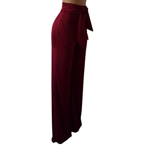 GUOLEZEEV Women Long Pants Elegant Bandage High Waisted Flare Palazzo Trousers Wine Red L by GUOLEZEEV (Image #4)