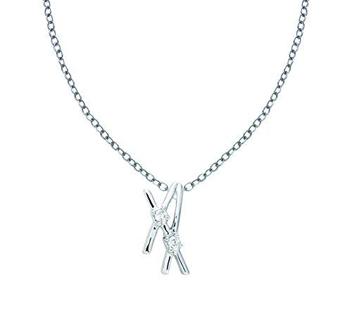 Or Blanc 18 ct Pendentifs Diamant en forme de multisegment, 0.03 Ct Diamant, GH-SI, 0.41 grammes.